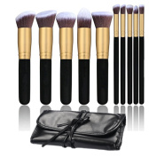 Makeup Brush Set 10pcs Professional Foundation Blending Blush Brush Cosmetics Makeup Brushes With Portable PU Bag