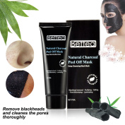 Blackhead Remover Mask Natural Charcoal Peel Off Mask Deep Cleaning Black Mask Tearing Style Black Mask Strawberry Nose Purifying Black Mask Bamboo Charcoal ACNE Treatment Black Mud Face Mask