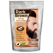 1 Pack of Dark Brown Henna Beard Dye for Men - 100% Natural & Chemical Free Dye for Hair, Beard, Moustache & Eyebrows - The Henna Guys