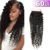 Iris Queen Kinky Curly Hair 4x 4 Free Part Lace Closure 8A 100% Unprocessed Human Hair Extensions Natural Black