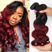 Soft Feel Hair 1b Burgundy Ombre Body Wave 3 Bundles Peruvian Human Hair 2 Tone Body Wave Ombre Hair Extensions