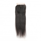 Subella Hair Brazilian 4x4 Lace Closure Straight Hair 100% Unprocessed Real Human Hair Middle Part Human Hair Closure Unbleached Knots