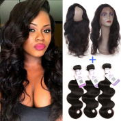 GEFINE 9A Pre Plucked 360 Lace Frontal with Bundles Brazilian Virgin Hair Body Wave Remy Human Hair 3 Bundles with Frontal Closure 360 Lace Band with Baby Hair Natural Colour 10 12 14+25cm