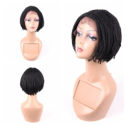 HAIR WAY Lace Front Braided Wigs for Black Women with Baby Hair 15cm Braided Wigs Short Bob Lace Wigs for Daily Wear Half Hand Tied #1B