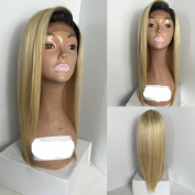 Full Lace Wigs Straight Ombre Blonde Human Hair Wig with Baby Hair for Black Women