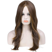 Wigs for Women Brown Highlighting Wig Synthetic Women's Wigs 70cm Long Wavy Wonderful Natural Wig