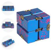 JZH Metal Aluminium Infinity Fidget Toy, Decompression Toys Fidget Rubik's Cube.