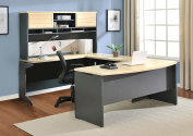 Ameriwood Home Pursuit U-Shaped Desk with Hutch Bundle, Natural