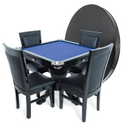 BBO Poker Levity Game and Poker Table for 4 Players with Speed Cloth Playing Surface, 110cm Square, Includes Matching Dining Top with 4 Dining or Lounge Chairs