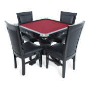 BBO Poker Levity Game and Poker Table for 4 Players with Speed Cloth Playing Surface, 100cm Square, Includes 4 Dining or Lounge Chairs