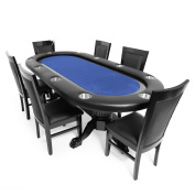 BBO Poker Elite Poker Table for 10 Players with Speed Cloth Playing Surface, 240cm x 110cm Oval, Includes 6 Dining or Lounge Chairs