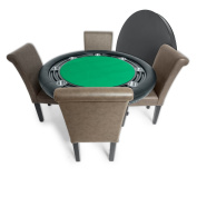 BBO Poker Nighthawk Poker Table for 8 Players with Felt Playing Surface, 140cm Round, Includes Matching Dining Top with 4 Dining or Lounge Chairs