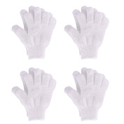 Hotop 4 Pairs Shower Gloves Scrubbing Gloves Dual-sided Exfoliating Glove Body Bath Scrubs, White