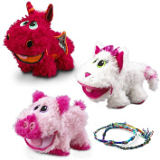 DG Kids 3 Pack Baby Stuffies Soft Plush Stuffed Animal Toys with Storage Pockets Cat Pig Dragon