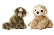 Bundle of 2 Aurora 15cm Floppy Beanbag Slotj and Marmoset Stuffed Animals - Costa Rica Wild Animals