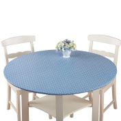 Fitted Elastic No-Slip Fit Table Cover with Soft Flannel Backing, Round, Blue Print
