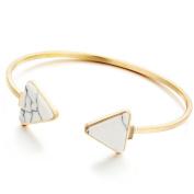 White Blue Geometric Simple Marble Stone Triangle Bracelets Bangles for Women