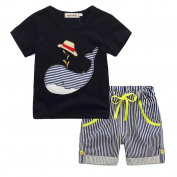 Boy Clothes Set,Toddler Kids Cartoon T-shirt Top+Striped Short Pants Outfit By Orangeskycn