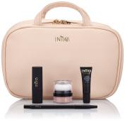 Inika Lip & Cheek Set - Beauty Gift Set All Natural Makeup , Organic Primer, Mineral Puff Pot , Organic Vegan Lipstick , Vegan Lip Brush, Vegan Travel Makeup Bag, Pretty in Pink