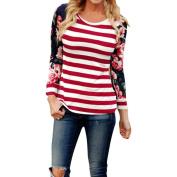 Women Blouse ,IEason 2017 Hot Sale! Women Long Sleeve Floral Stripe T-Shirt Blouse Casual Loose Tops Shirt Tee