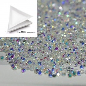 1440Pcs 1.2mm Ultra Mini Diamond Shining Diy Rhinestones Iridescent Crystals Need Glue Phone & Nail Art Decoration Ab Clear + 1 FREE Triangle Plate