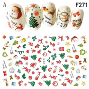 Leewa@ Holiday Themed Christmas 3D Nail Art Stickers - Snowflakes/Snowmen Decal