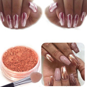 Owill Women Girls Rose Gold Nail Mirror Powder Glitter Chrome Powder Nail Decoration