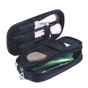 HOYOFO Double-Sided Cosmetic Pouch Bag for Travel Makeup Brush Organiser Makeup Bag, Black