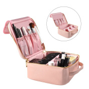 Portable Travel Makeup Bag, Waterproof Makeup Train Case Cosmetic Organiser Kit Artists Storage for Cosmetics, Makeup Brush Set, Toiletry And Travel Accessories