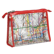 Clear Vinyl NYC Map Cosmetics Cases with Red Trim - Large