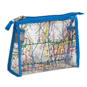 Clear Vinyl NYC Map Cosmetic Cases Medium - Royal Blue
