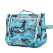 Large Travel Cosmetic Bag Hanging,Camo Makeup Pouch Portable Toiletry Organiser, Waterproof with Zipper Blue