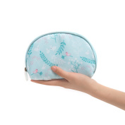 Women Comsetic Makeup Pouch Bags, Portable Cute Half Moon Waterproof Travel Toiletry Case for Purse Blue