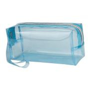 Meetory Large Transparent Jelly Pencil Case,Solid Colour Zipper Travel Toiletry Bag