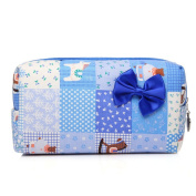 Cosmetic Beauty Bag Organiser Pouch Makeup Case Organiser for Purse, Travel Toiletry Bags Blue Rectangle with Bow
