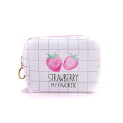 Cute Cosmetic Makeup Bags, Large Brush Pouch Organiser Purse Travel Case for Toiletries White Strawberry
