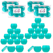 Beauticom 24 Pieces 30G/30ML (1 Oz) Teal Frosted Container Jars with Inner Liners for Scrubs, Oils, Salves, Creams, Lotions, Medication, Cosmetics - BPA Free