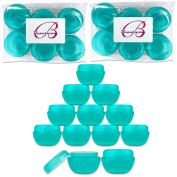 Beauticom 12 Pieces Teal Container Jars with Inner Liner and Lid for Scrubs, Oils, Salves, Creams, Lotions, Makeup Cosmetics, Nail Accessories, Beauty Aids - BPA Free
