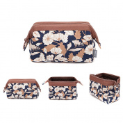 Cosmetic Bag, Portable Travel Beauty Makeup Bag Toiletry Waterproof Make Up Pouch for Purse Cotton Printing Flower