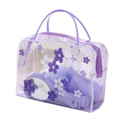 CosCosX Clear Makeup Toiletry Transparent PVC Flower Pouch Waterproof Travel Bags Washable Cosmetic Bag