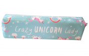 CRAZY UNICORN LADY MAKE UP PENCIL CASE BLUE/GREEN PINK WHITE RAINBOW