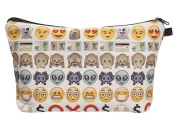 Emoji Faces Printed White Cosmetic Travel Zipper Bag | Easy to Travel for Kids, Teens, and Adults | Perfect for Cosmetics, School, Toiletries, Or as a Clutch Bag
