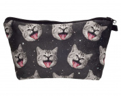 Smiling Space Kitty Cosmetic Travel Zipper Bag | Easy to Travel for Kids, Teens, and Adults | Perfect for Cosmetics, School, Toiletries, Or as a Clutch Bag