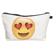 Emoji Heart Eyes Smiley Face Zipper White Pouch Cosmetic Bag | Easy to Travel for Kids, Teens, and Adults | Perfect for Cosmetics, School, Toiletries, Or as a Clutch Bag