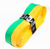 Karakal PU Supergrip replacement racquet grip - tennis / badminton / squash - Yellow / Green x 2