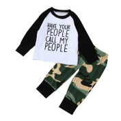 Newest Baby Boy T shirt Tops+Camouflage Pants Outfits Clothes Set