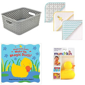 Baby Bathing Gift Set Hooded Towels, Bath Ducky, Magic Bath Book