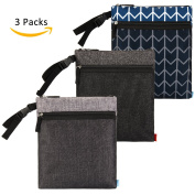 NiceEbag 3 pcs Baby Wet and Dry Cloth Nappy Bags Travel Nappy Organiser Bag Waterproof Reusable with Two Zippered Pockets