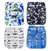 Welandtech Reuseable Washable Baby Pocket Cloth 4 Nappies with 4 Inserts