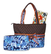 Rosenblue Quilted Nappy Bag Set with Changing Mat, Brown Blue Paisley